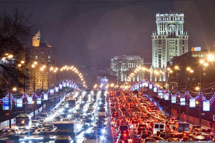 Печально знаменитые московские пробки. | Фото: vistanews.ru.