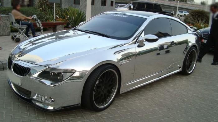 Спортивное купе BMW от тюнинг-ателье Hamann в хромовом виниле.   Фото: garage-style.ru.