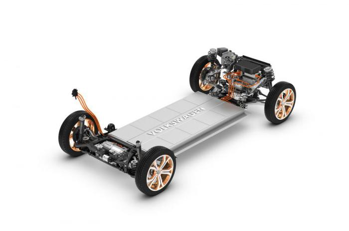 Платформа машины с электромоторами и батареей.