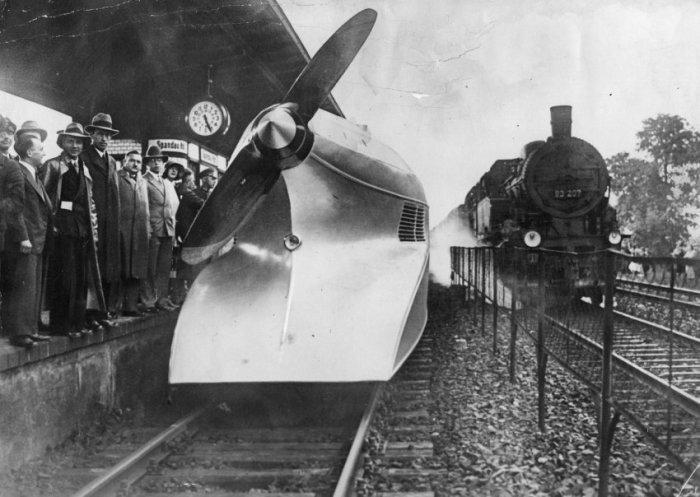Рекордная поездка Schienenzeppelin в 1931 году. | Фото: spiegel.de.