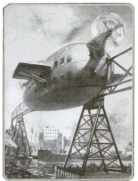 Проект монорельсового поезда Фрэнсиса Лаура, 1919 год. | Фото: books.google.hu.