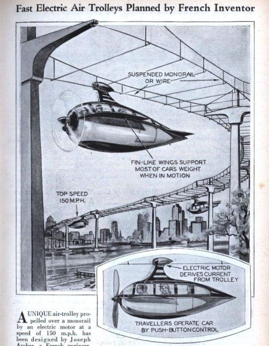Французское изобретение: быстрый электрический летающий троллейбус, 1930 год. | Фото: blog.modernmechanix.com.
