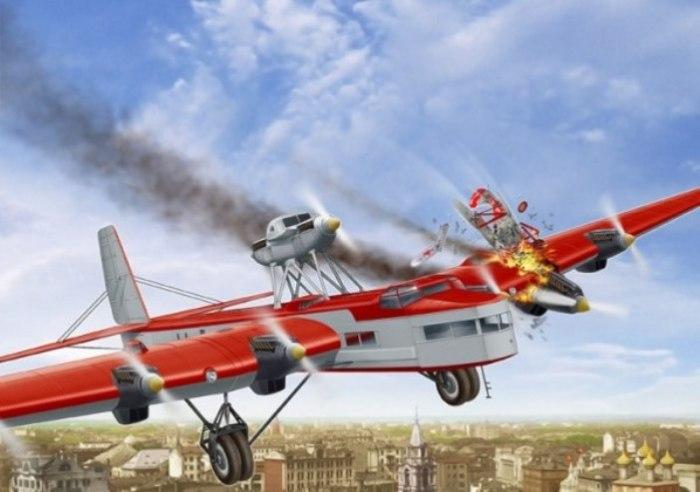 Истребитель И-5 врезается в самолет «Максим Горький», 18 мая 1935 года. | Фото: war.ee.
