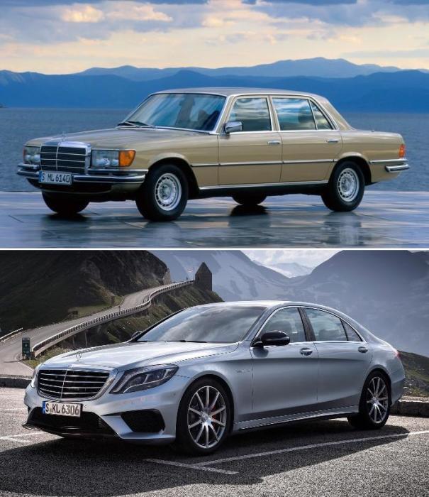 Седаны Mercedes-Benz S-класса: первое поколение W116 и шестое поколение W222.
