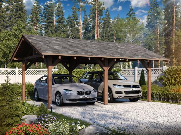 Деревянный навес для двух автомобилей.