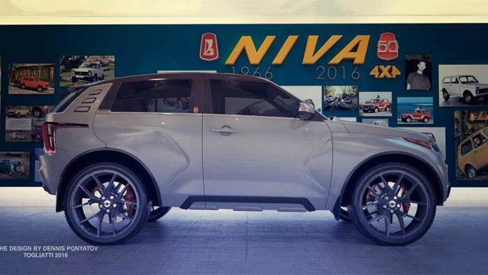 Концептуальная «Нива» получила боковые выштамповки, как на Lada Xray. | Фото: autocentre.ua.