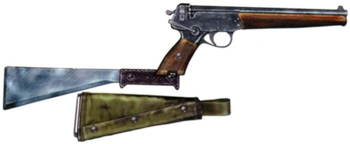 Пистолет ТП-82 с прикладом-мачете.