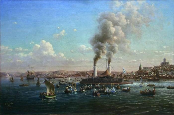Встреча броненосца «Новгород» в Севастополе 2 сентября 1873 года. Художник Н.П. Красовский, 1874 г.