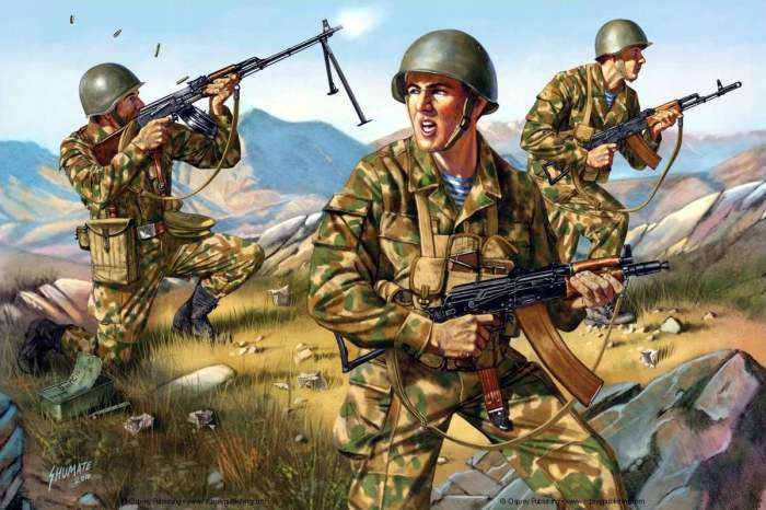 Советские десантники с автоматами и пулеметами Калашникова в Афганистане, 1980-е годы. | Фото: sibnarkomat.livejournal.com.