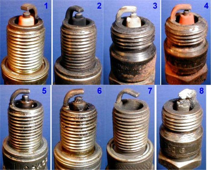 Различные состояния свечей зажигания. | Фото: automum.com.