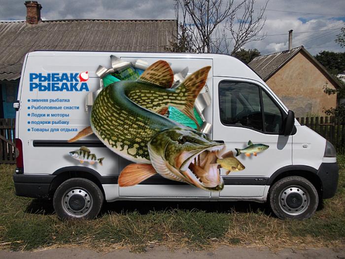 На фургонах и грузовиках можно разместить еще более крутые наклейки. | Фото: asphalt-art.com.ua.