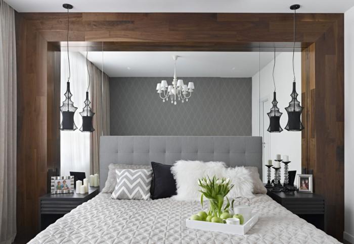 Зеркало в дизайне маленькой спальни.