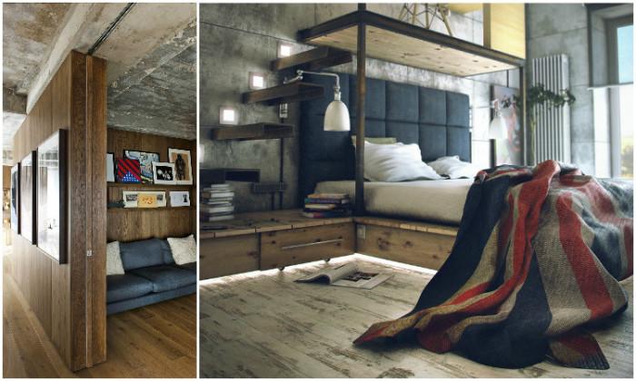 Лофт в чистом виде делает дизайн маленькой квартиры угнетающим, но украшает большое помещение.