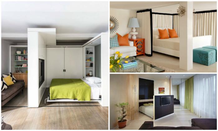 Идеи для совмещения спальни и гостиной.