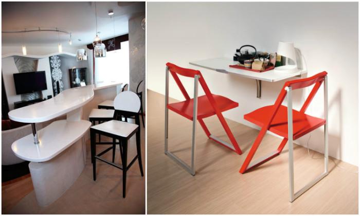 Откидной стол более удобен и функционален, чем барная стойка.