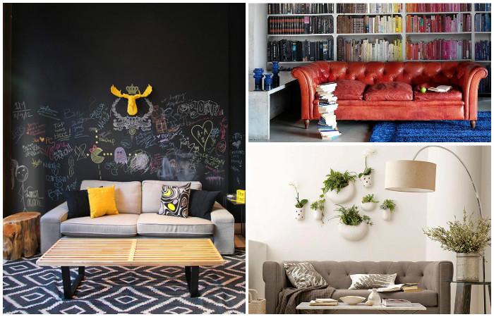 Идеи для оформления стены за диваном.