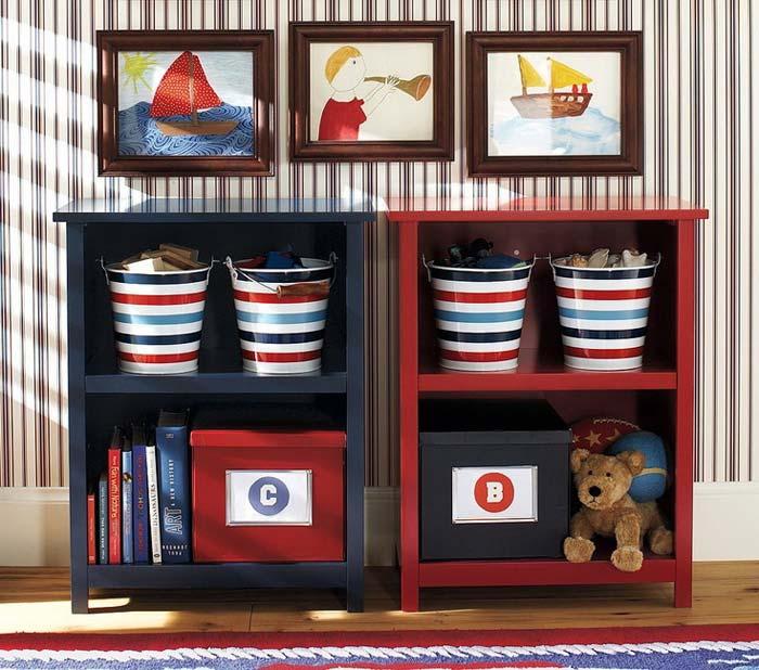 Удобная система хранения необходима в детской.