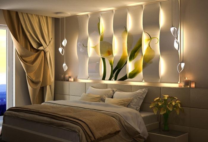 Светильники под 3D-панелями.