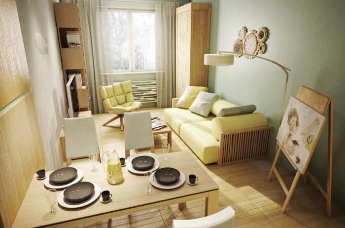 Маленькая квартира с преобладанием природных оттенков.