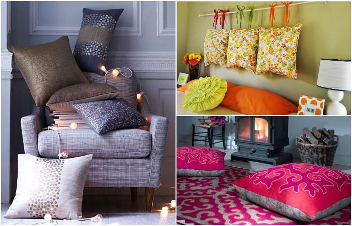 Декоративные подушки в интерьере.