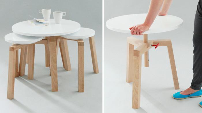 Необычный столик для маленькой гостиной.