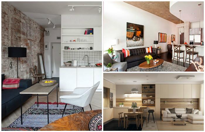 Стильные интерьеры кухни-гостиной.