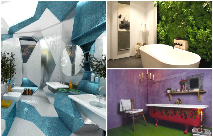 Экстравагантные интерьеры ванной комнаты.