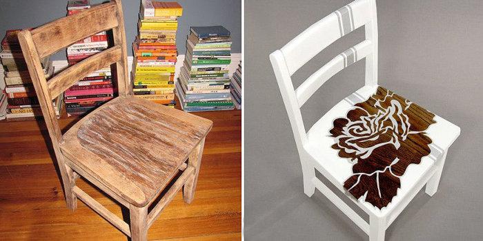 Декор мебели при помощи трафаретного рисунка.