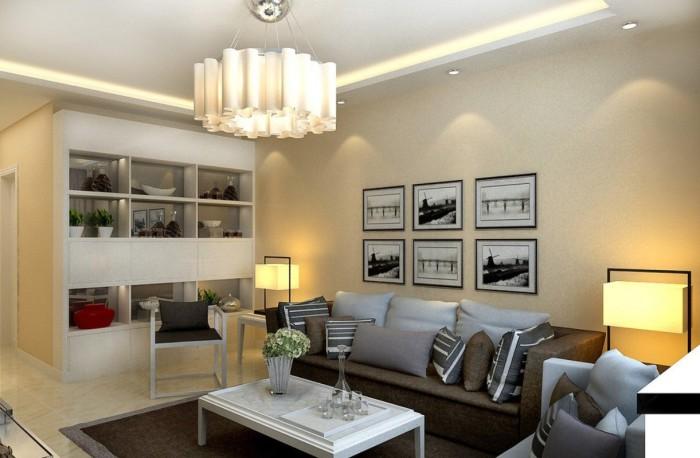 Сложная система освещения в гостиной.