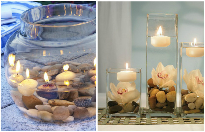 Красивая ваза с камнями.