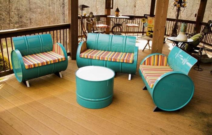 Садовая мебель своими руками из бочек.