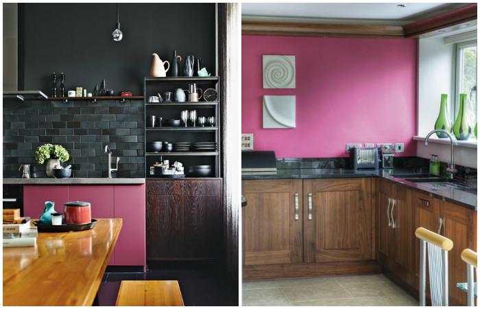 Кухня з рожевими деталями.