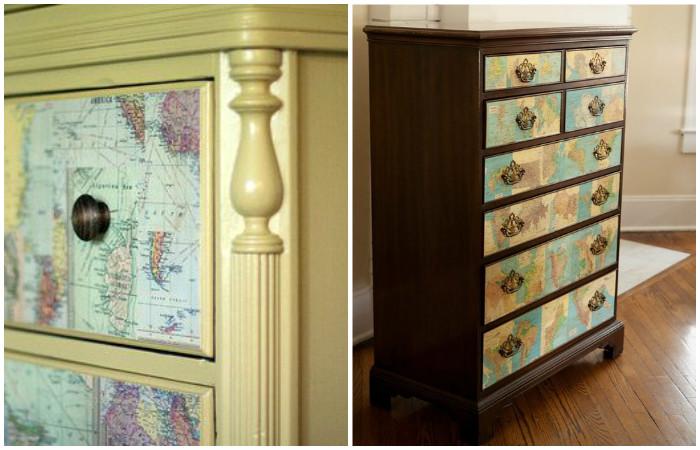 Декор старой мебели географическими картами.