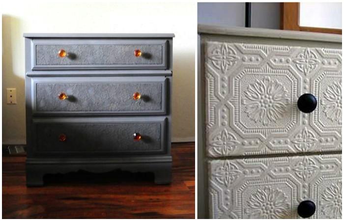 Обновление старой мебели при помощи обоев.