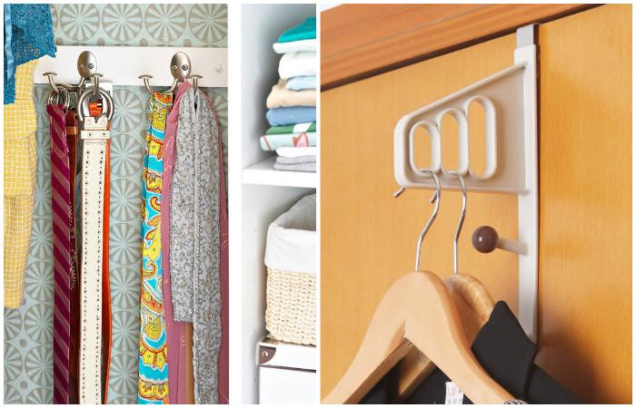Крючки помогут грамотно применить каждый сантиметр внутри шкафа.