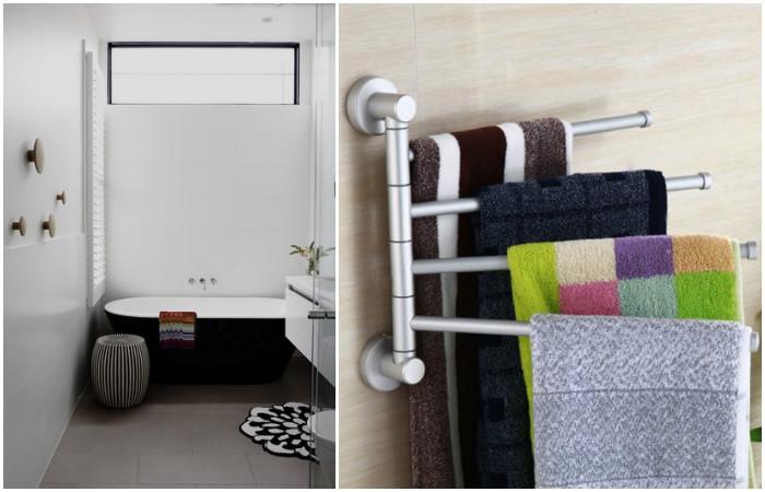 Крючки для полотенец на разной высоте - для удобства членов семьи разного роста.