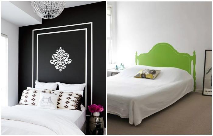 �зголовье кровати можно разрисовать.