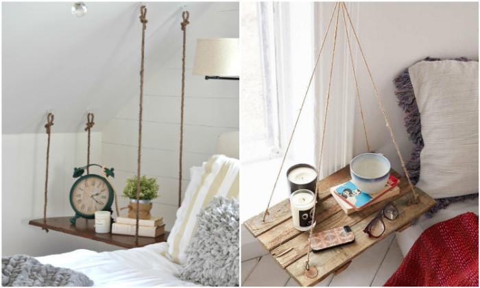 Подвесные тумбочки идеальны в интерьере маленькой спальни.