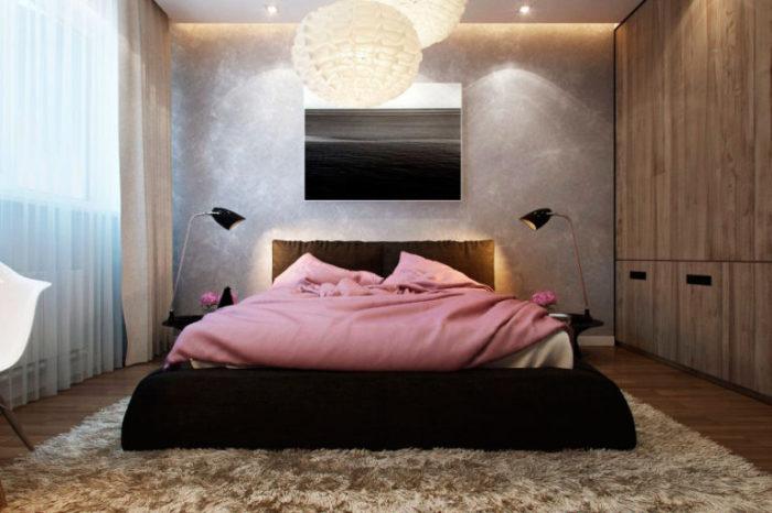 Мягкий интерьер спальни, который хочется рассматривать.