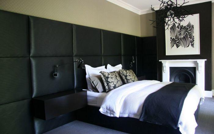 Декоративные панели черного цвета в интерьере.