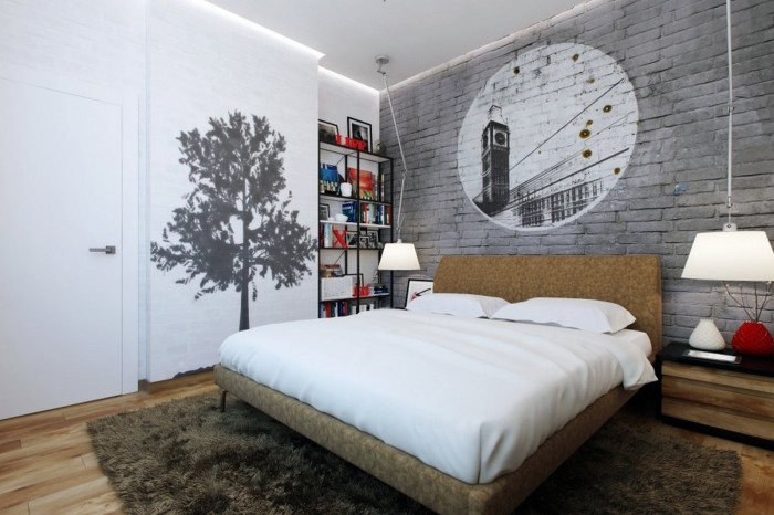 Интерьер спальни с акцентной стеной.