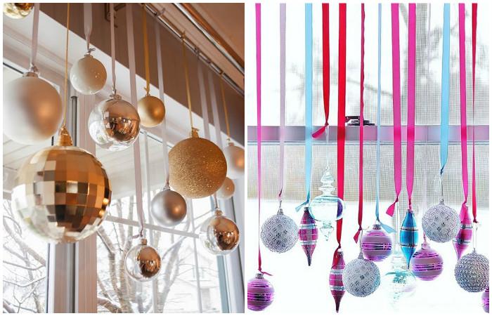 Нежный, но эффектный новогодний декор шарами на лентами.