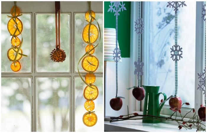 Фруктовые гирлянды в качестве новогоднего декора.