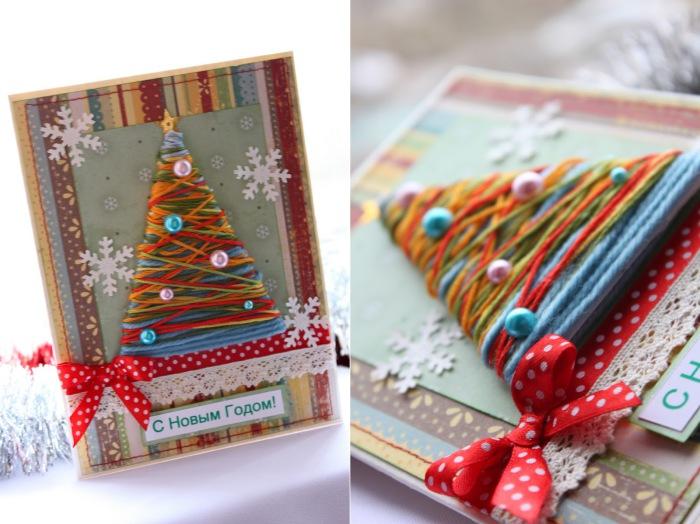 Новогодняя открытка своими руками из остатков пряжи.
