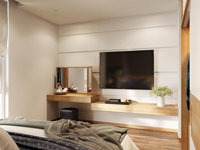 Функциональный интерьер маленькой спальни.