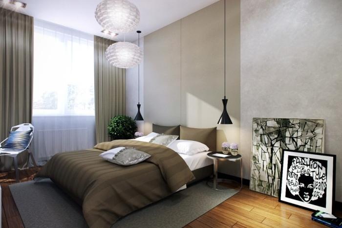 Расслабляющий интерьер маленькой спальни.