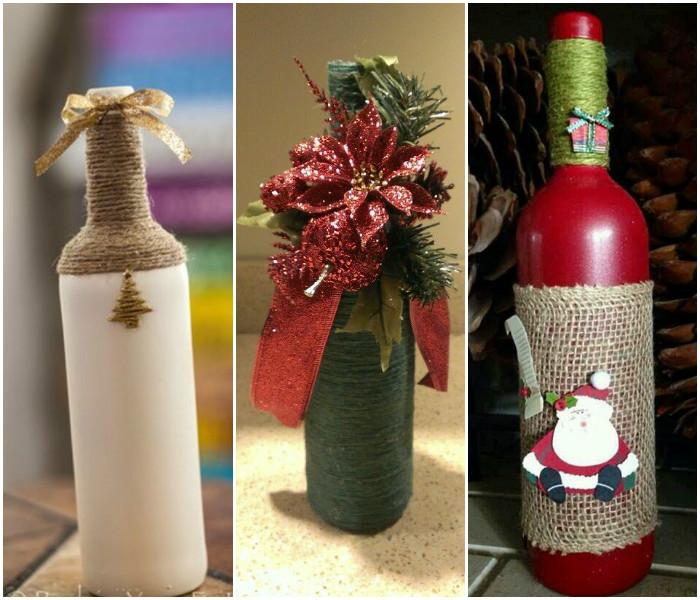 Украшение бутылок при помощи декоративной веревки.