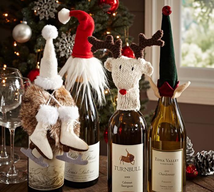 Милые головные уборы для декора новогоднего шампанского.