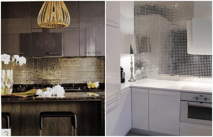Необычные кухонные фартуки из эксклюзивных отделочных материалов.