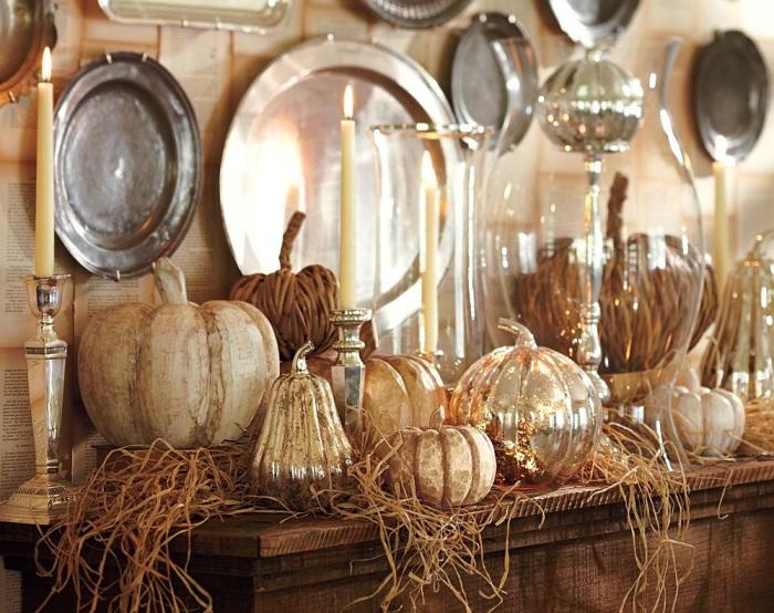 Дизайн интерьера с осенним декором для кухни.